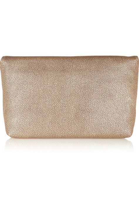 Lara Bohinc Rosetina Foiled Leather Purse by Lyst Mulberry Clemmie Metallic Textured Leather Clutch