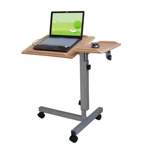 Laptop Standing Desk Adjustable Standing Laptop Desk On Wheels With Mouse Counter Decofurnish