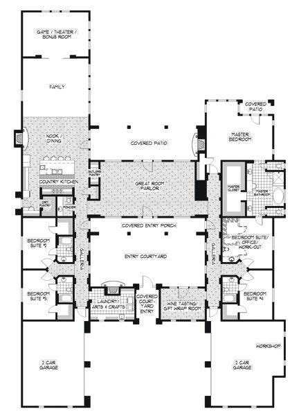 floor plan for a hacienda style house house plans flowing floor plans on pinterest small house plans