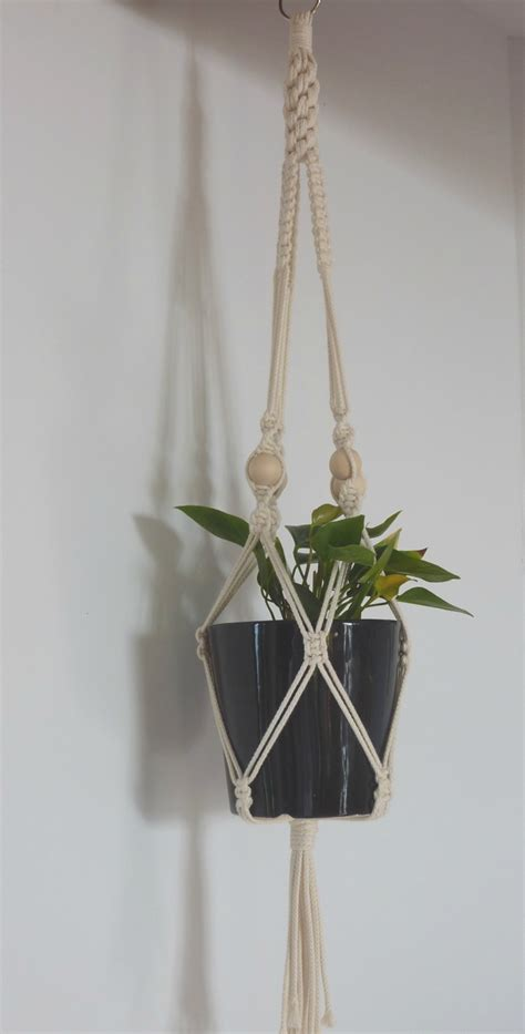 Macrame Pot Holders - quot classic quot macrame hanging pot holder felt
