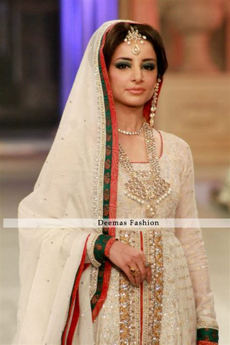 pakistani anarkali dresses latest collection 2013 trendy latest designer collection 2016 ivory white front open