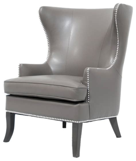 Grey Wingback Chair by Tmd Grey Leather Wing Back Chair