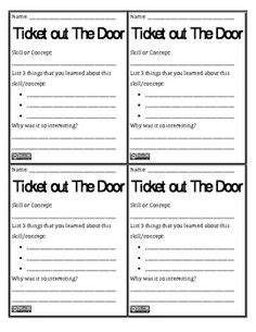 ticket out the door template exit tickets on exit slips sticky notes and