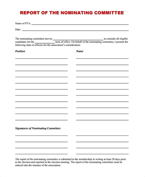 Nominating Committee Report Template 9 Committee Report Templates Sle Templates