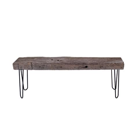 bench w long rustic bench w metal legs