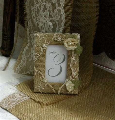 Burlap table number frame, Burlap picture frames, wedding