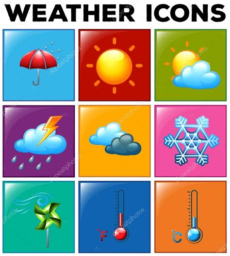 weather color different weather icons on color background stock vector