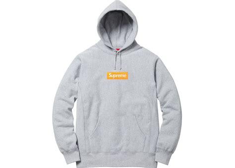 Maika Alogo Grey supreme box logo hooded sweatshirt grey
