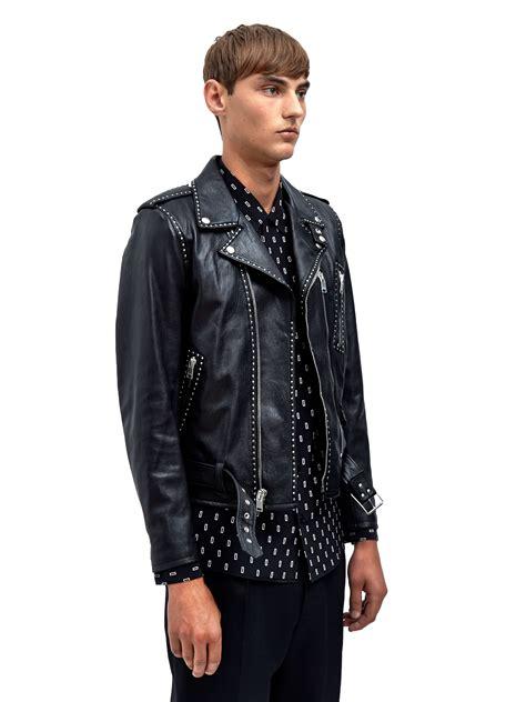 black leather biker jacket lyst saint laurent mens studded leather biker jacket in