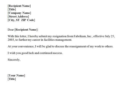 Templates For Letter Of Resignation by Resignation Letter Template