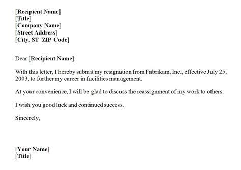 Resignation Letter Template   Resignation Letter