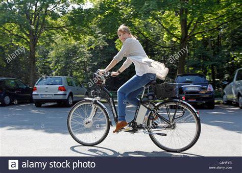 E Bike Dortmund by Girl Riding On Electric Bicycle Pedelec Ebike E Bike