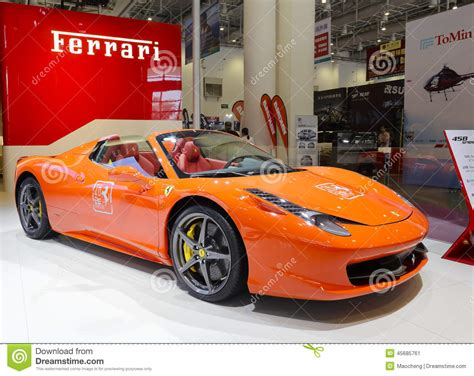 Auto Held by The Orange 458 Spider Car Editorial Photo Image