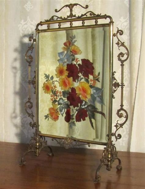 painted fireplace screen brass and beveled mirror screen