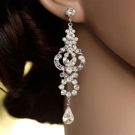 Earring Chandelier Rhinestone Chandelier Earrings Bridal Earrings Deco