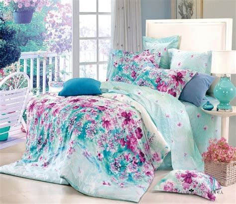 Queen Size Teenage Bedroom Sets | free shipping 3d flower blue floral cotton queen size 4pc bedding duvet covers teen bedding