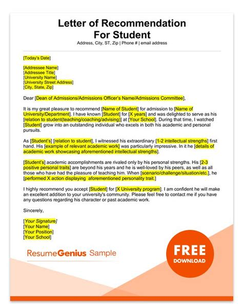 Reference Letter For A Student From A Lecturer student and recommendation letter sles 4