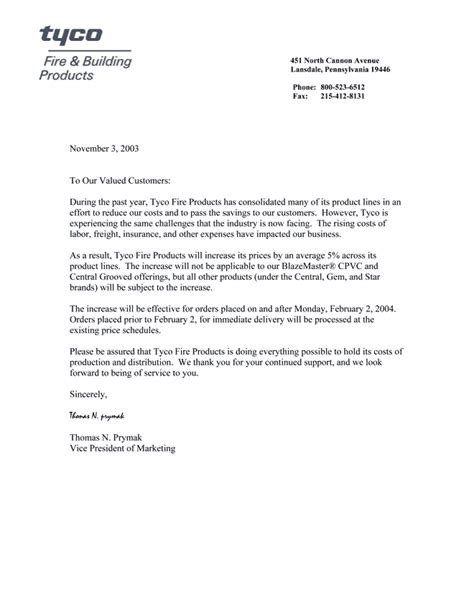 Letter Announcing Raise Sle Business Letter For Price Increase Sle Business Letter