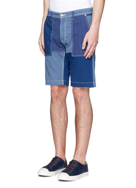 Mens Patchwork Shorts - fdmtl patchwork cotton shorts in blue for lyst