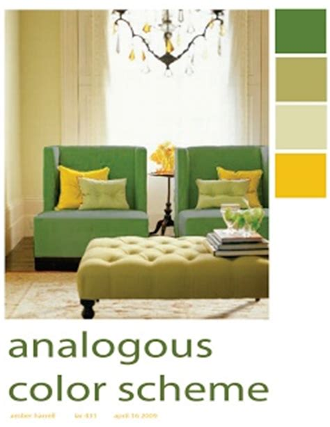this room s exle of an analogous color scheme uses four colors that are next to each other on