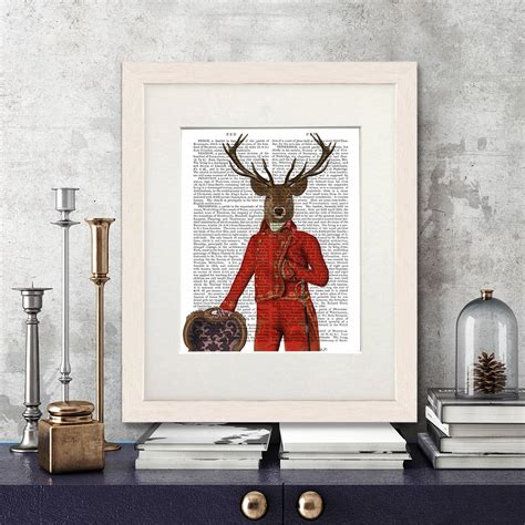 home decor red deer deer in red and gold deer print by fabfunky home decor