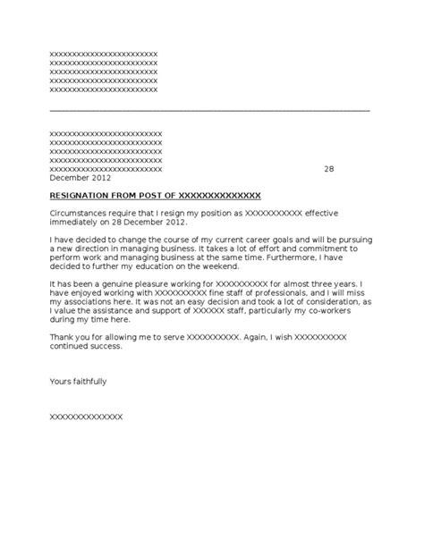 Resignation Letter 24 Hours Pdf Resign Letter 24 Hours Format