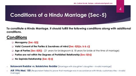 section 5 of hindu marriage act hindu marriage act 1955 by adv subhan bande kadapa