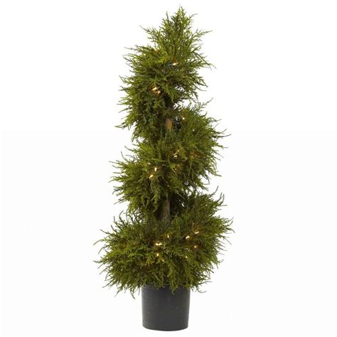 nearly natural 43 in cedar spiral topiary with lights