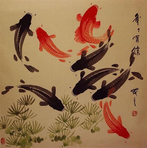 imagenes de zen koi large koi fish painting on antiqued chinese paper asian
