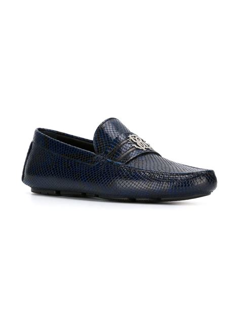 snakeskin loafers roberto cavalli snakeskin loafers in blue for lyst