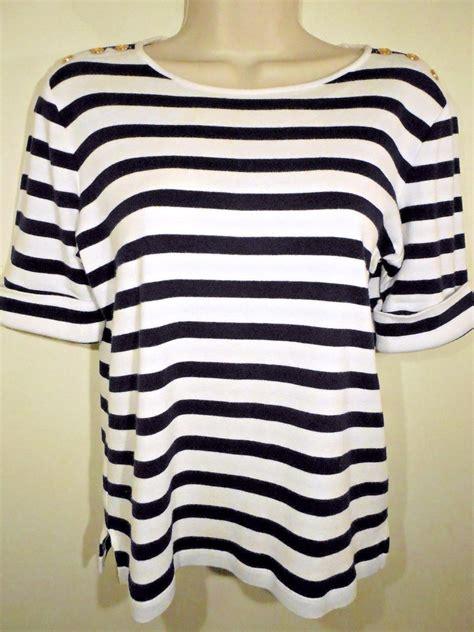 Md Stripe Blue l m studio s knit jacket top 2 button blue white nautical stripe size 6 what s it worth