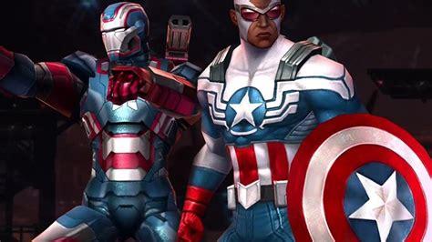 marvel future fight iron patriot falcon captain
