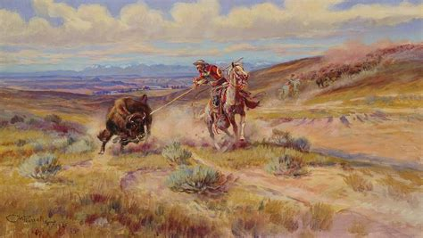 charles marion russell high quality oil painting spearing a buffalo painting by charles marion russell
