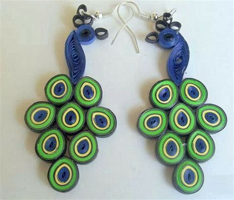 Earrings With Paper - peacock quilling earring jewellery designs 2015 quilling