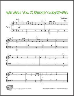 merry christmas easy piano sheet  digital print