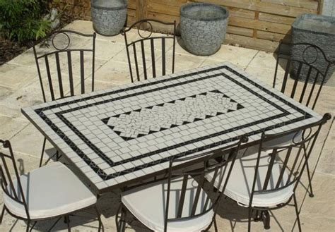 table jardin mosaique rectangle 140cm en c 233 ramique blanche et ses 3 lignes ardoise table