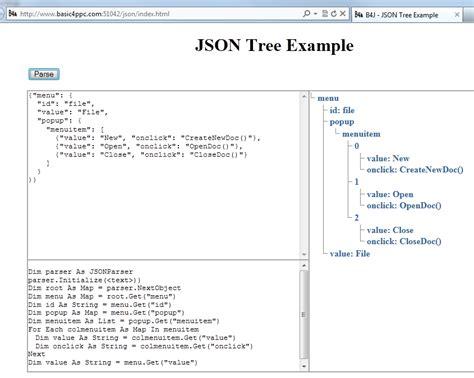 tutorial json html b4j tutorial server online json tree exle b4x
