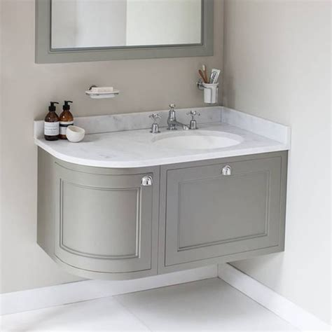 rounded corner bathroom vanity burlington olive 1000mm wall hung curved vanity unit