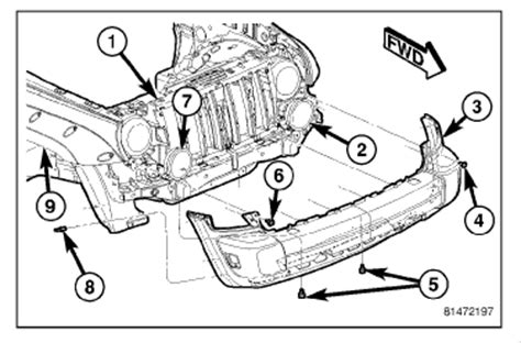 diagram how to install front fender of 2009 bentley azure remove and install the front plastic bumper of a 2004 jeep liberty