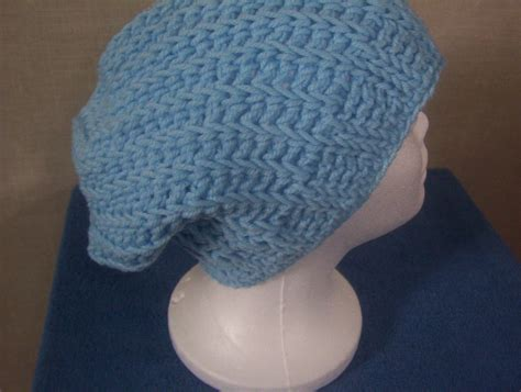Handmade Crochet Hats For Sale - handmade crocheted light blue ribbed s slouch
