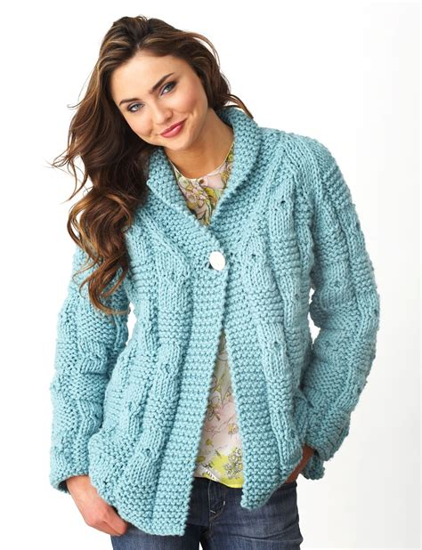 free knitting pattern cardigan sweater bernat textured checks cardigan knit pattern yarnspirations