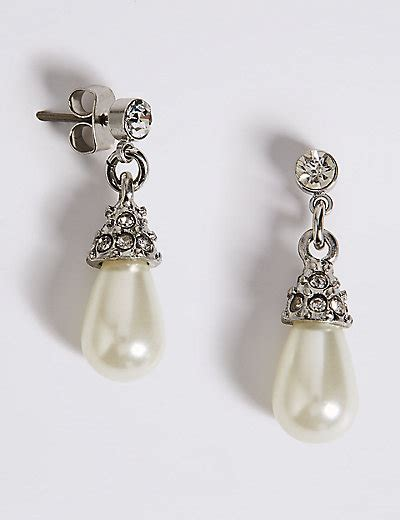 Marks And Spencer Oval Drop Earrings by Pearl Effect Diamant 233 Almond Drop Earrings M S