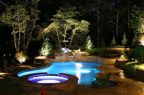 Landscape Lighting Around Pool Ty Towriss Pool And Pavilion Contemporary Pool