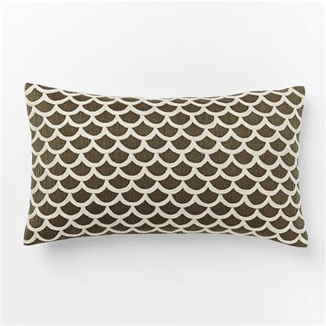 Crewel Pillow Covers by Scalloped Crewel Pillow Cover Mocha West Elm