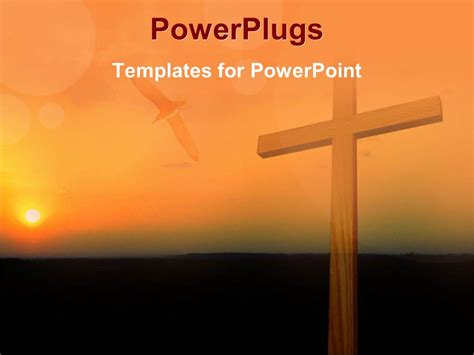Powerpoint Template Big Wooden Cross On A Sun Set Powerplugs For Powerpoint