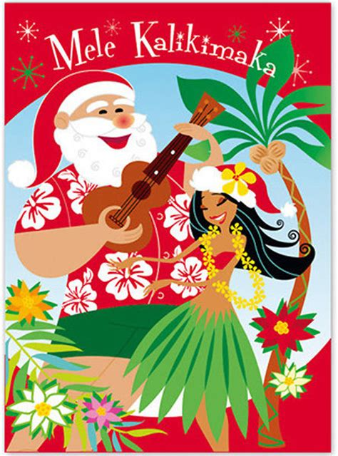 hawaiian christmas card season s aloha hula girl santa