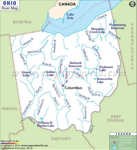 physical map of ohio ohio rivers map rivers in ohio