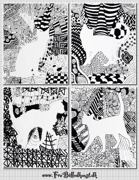 doodle with doodle silhuetter 4 klasse frubilledkunst