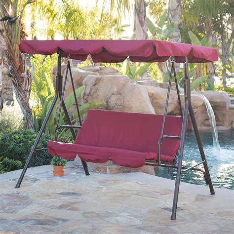 swing patio furniture 3 person patio swing canopy tilt awning hammock steel