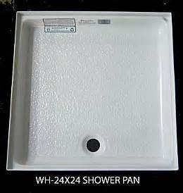rv shower pan 24 x 24 4 flange front center drain white